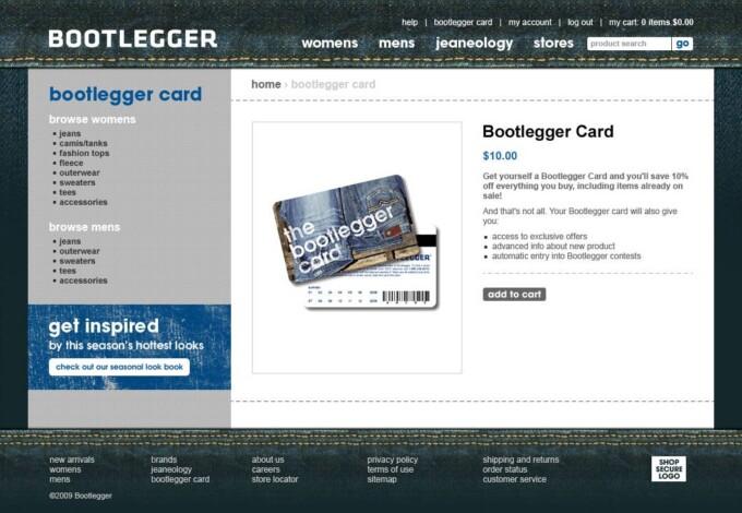 Bootlegger Card Page